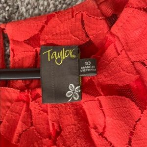 Taylor Dresses - Red Floral Taylor Dress with Scallop Detail